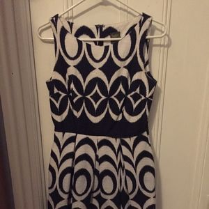 blue print, fit and flair dress